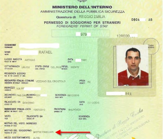 Uruguayano sposa un italiano ottiene permesso di for Questura di ferrara ritiro permesso di soggiorno