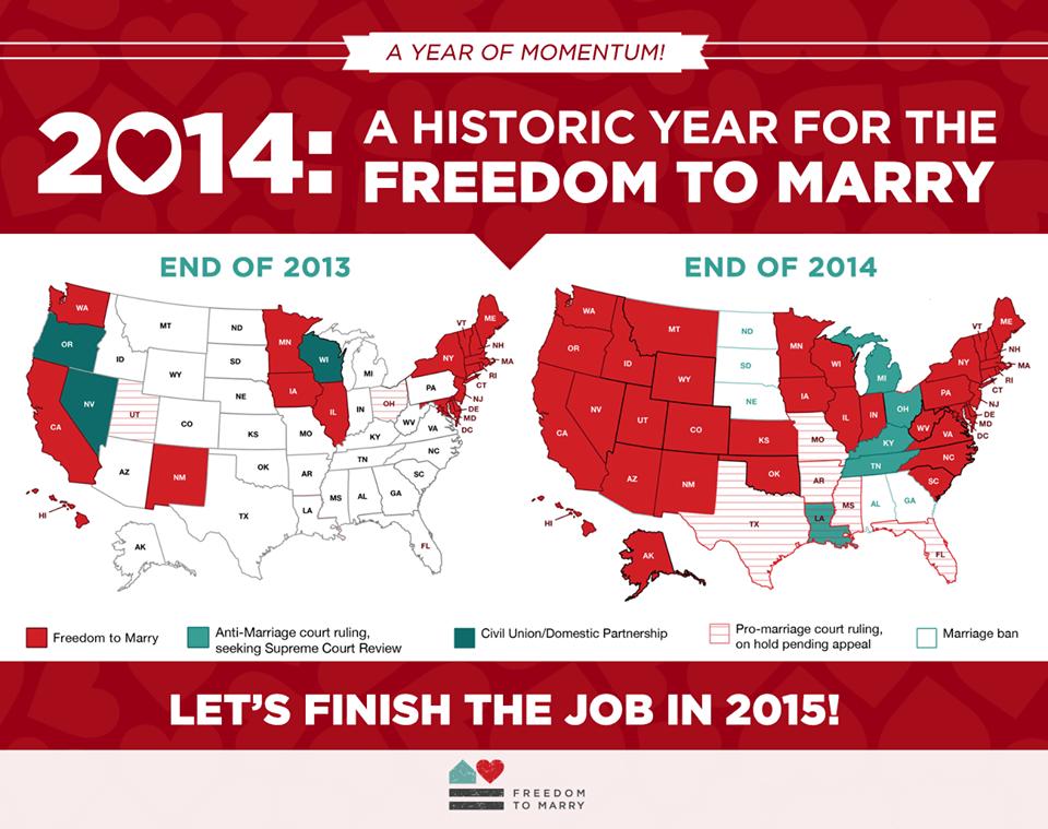 Sai quanti Stati hanno approvato i matrimoni gay negli USA nel 2014?
