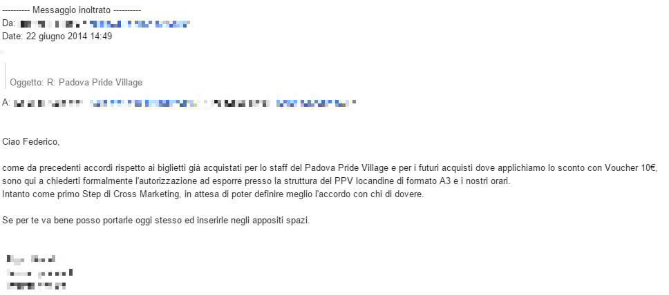 Esclusivo: Italo fece sconti nel 2014 per il Padova Pride Village