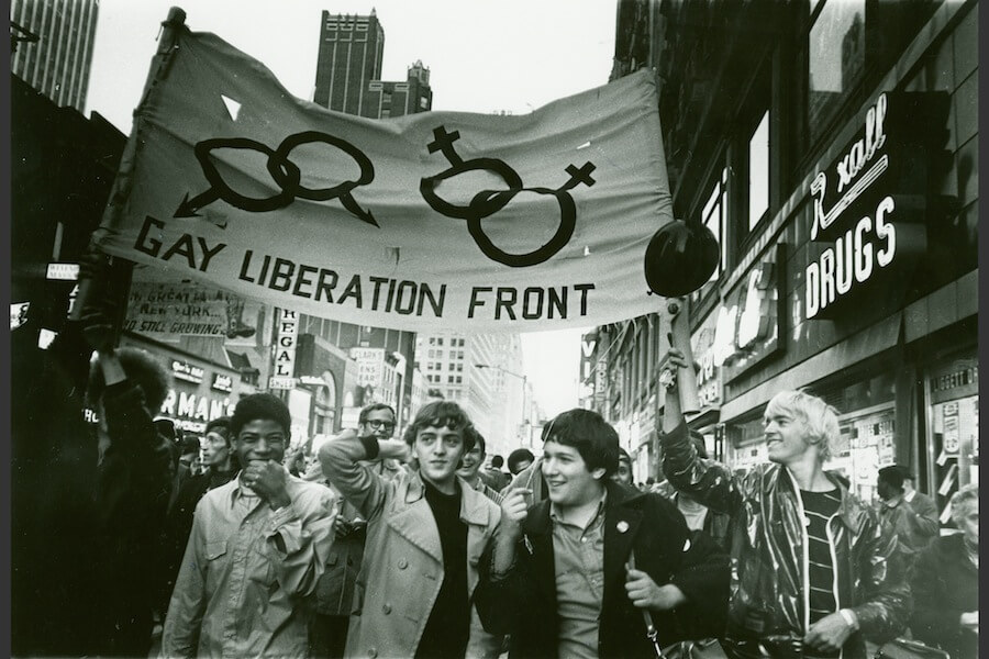 Gay Liberation Front march on Times Square in New York, N.Y., 1969.
