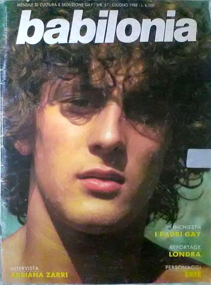 """Una foto di Tony Patrioli per la copertina del numero 57, del giugno 1988, di """"Babilonia""""."""