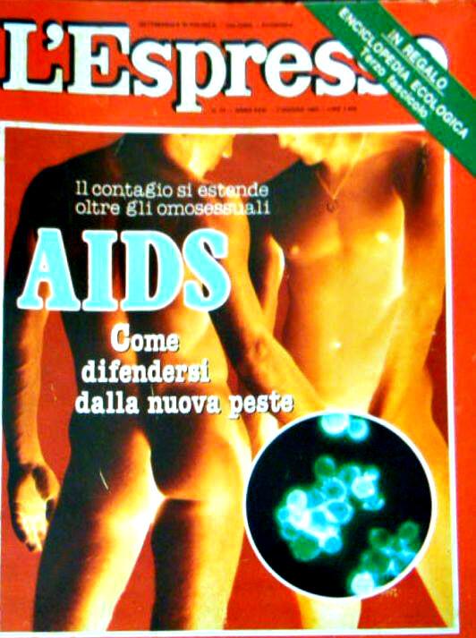 """""""L'Espresso"""", numero 22, 2 giugno 1985. Con la copertina riferita ad un articolo in cui si evidenzia, con toni non sempre condivisibili, come la diffusione di casi da AIDS non sia limitata alla sola comunità gay."""