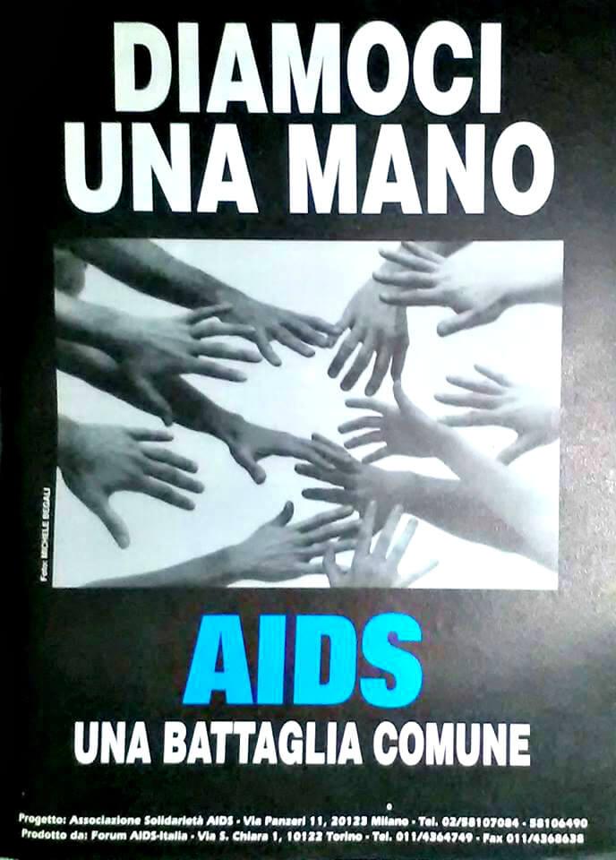 """Un'inserzione dell'ASA (Associazione solidarietà AIDS), nata nel 1985, a seguito di un galà per la raccolta di fondi a favore della ricerca sull'AIDS, organizzato al Teatro Ciak di Milano dalla rivista """"Babilonia""""."""