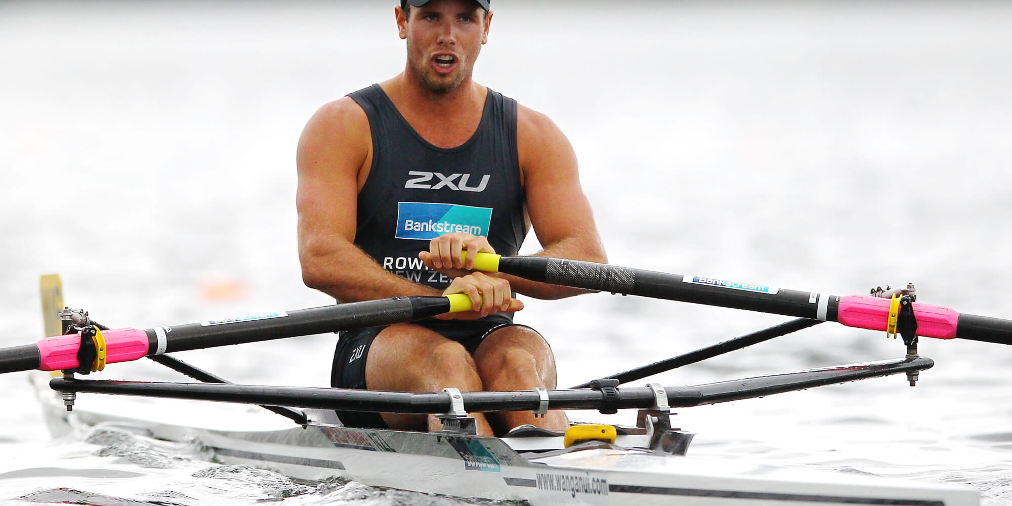 CAMBRIDGE, NEW ZEALAND - JANUARY 26: Robbie Manson competes during the Mens premier single sculls final at Lake Karapiro on January 26, 2014 in Cambridge, New Zealand. (Photo by Anthony Au-Yeung/Getty Images)