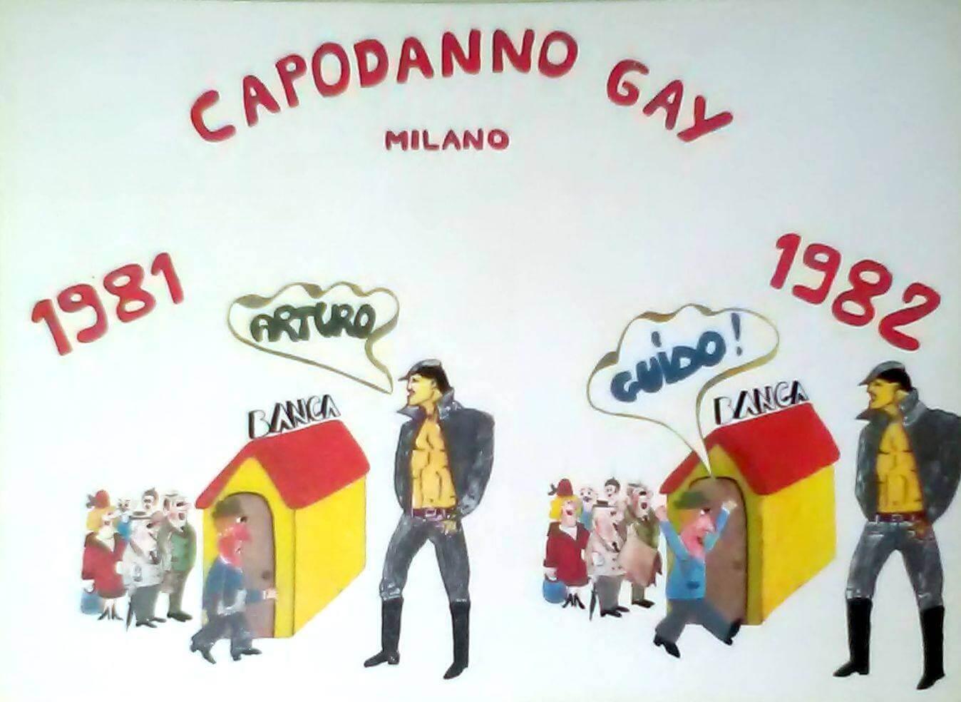 Cartolina per pubblicizzare la festa di capodanno organizzata a Milano dal Fuori!.