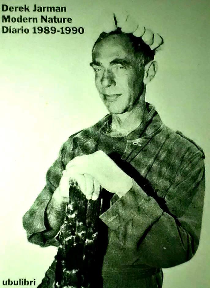 Copertina del libro Modern nature. Diario 1989-1990, scritto dal regista britannico Derek Jarman nel periodo in cui ormai conviveva da tre anni con la propria sieropositività, e prima di morire per complicazioni da AIDS nel 1994, anno di pubblicazione in Italia del volume, per Ubulibri.