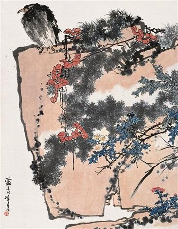 Pan Tianshou, 鹰石山花之图 (Eagle, Rock, and Flora)