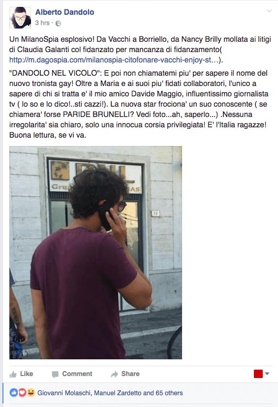 Facebook Alberto Dandolo su Paride Brunelli tronista ga