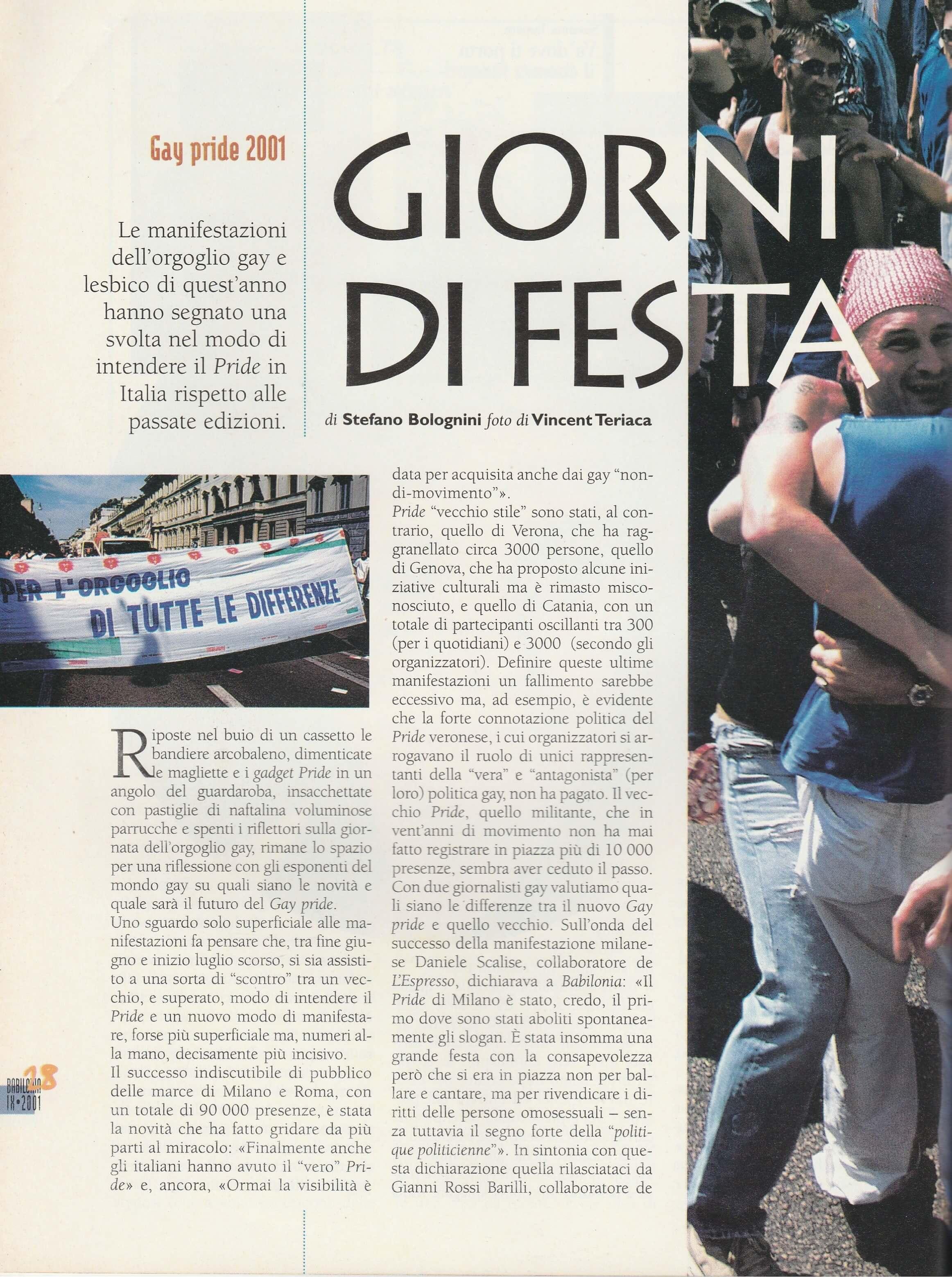 """Un articolo da """"Babilonia"""" del settembre 2001 sulle varie manifestazioni per il Gay Pride svoltesi in diverse città italiane nel giugno dello stesso anno."""