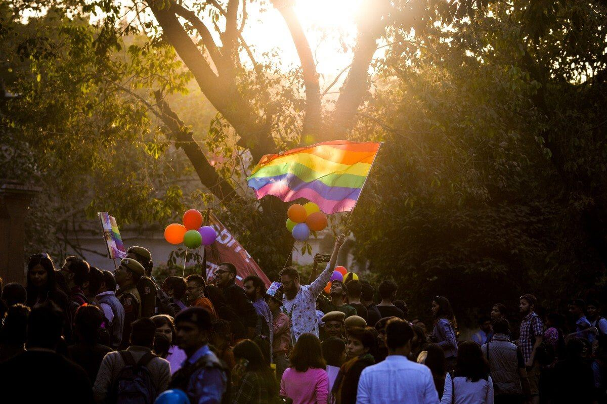 Indian members and supporters of the lesbian, gay, bisexual, transgender (LGBT) community take part in a pride parade in New Delhi on November 27, 2016 Hundreds of members of the LGBT community marched through the Indian capital for the ninth annual Delhi Queer Pride Parade. / AFP / CHANDAN KHANNA        (Photo credit should read CHANDAN KHANNA/AFP/Getty Images)