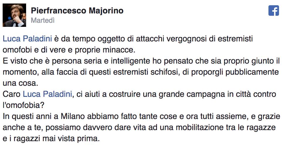Majorino Milano Paladini omofobia