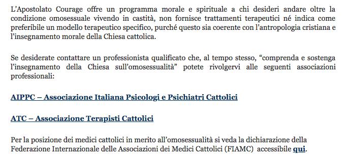 Una parte della pagina del sito di Courage Italia